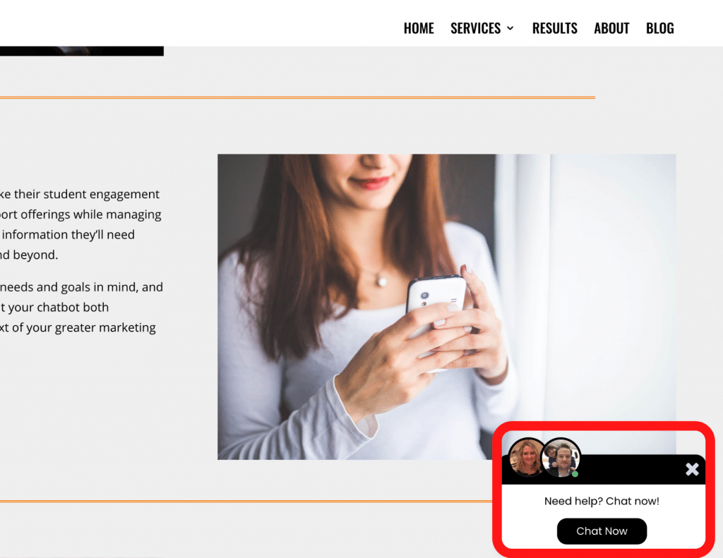 Screenshot of JetSpring website showing chat pop-up