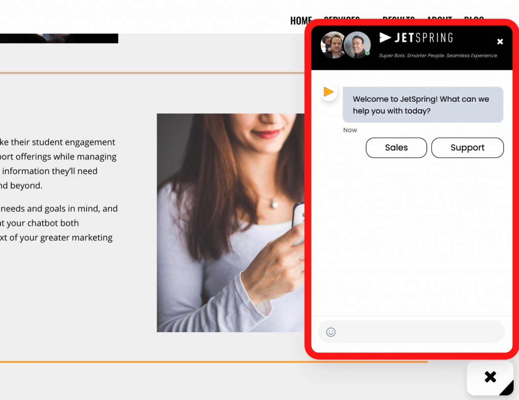Screenshot of JetSpring website showing the chat window